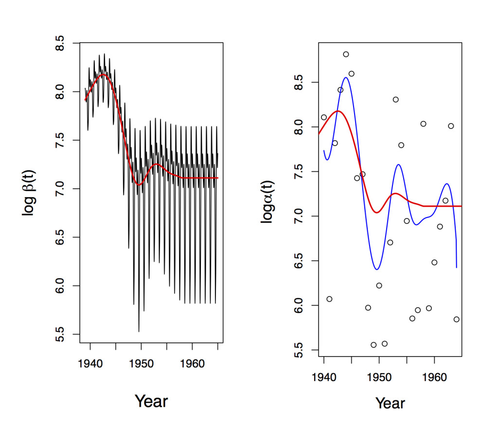 Regularized time-varying ODE coefficients of SEI dynamic equation for the Canadian measles incidence data (Li, Zhu, Wang, 2015). Left panel: time-varying ODE coefficient curve that reflects both yearly and seasonal effects with the regularized yearly effect (red curve) embedded; right panel: regularized (red curve), non-regularized (blue) and two-year local constant (circles) estimates of yearly effects. The new regularized method shows that the yearly effect is relatively large in the early years and deceases gradually to a constant after 1958.