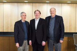From left, Al Hero, U-M; Patrick Wolfe, UCL; and Brian Athey, U-M signed an agreement for research and educational cooperation between the University of Michigan and University College London.