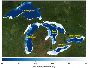 Areal fraction of ice cover in the Great Lakes in January 2018 modeled by the unstructured grid ice-hydrodynamic numerical model.
